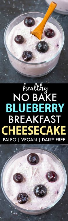 Healthy Blueberry Breakfast Cheesecake (V, GF, P, DF)- Easy, make-ahead and no-bake breakfast which is low carb and sugar-free too! {vegan, gluten free, paleo, dairy free recipe}- thebigmansworld.com