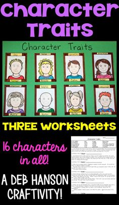 Character Traits Activity: A reading lesson for upper elementary students! Students complete three worksheets, and then use their answers to create this fun craftivity! This character trait activity makes a great reading bulletin board, too!