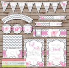Pink and Gray Elephant Baby Shower Printable Party Package on Etsy, $15.00