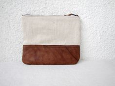 Canvas zipper pouch, clutch purse, cosmetic bag, upcycled leather bottom
