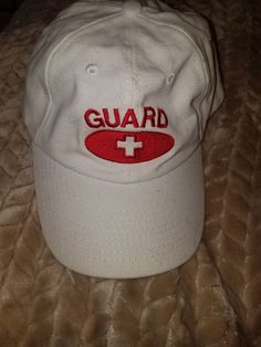6f9b6c6ad44 White baseball cap with red embroidery to say