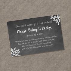 please bring a recipe instead of a card insert for bridal shower invitations recipe card cookbook gift idea rustic chalkboard diy burlap