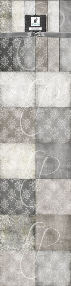 Neutral Damask & Solid Pattern Paper. Patterns. $6.00 Damask Patterns, Paper Patterns, Pattern Paper, Neutral, Amp, Card Templates