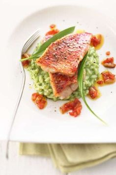 Roasted red mullet on wild garlic risotto Johann Lafer Recipes MSN Lifestyle. Roasted red mullet on wild garlic risotto – Johann Lafer … Celery Recipes, Meat Recipes, Healthy Recipes, Drink Recipes, Seafood Salad, Fish And Seafood, Shellfish Recipes, Seafood Recipes, Mullet Recipe