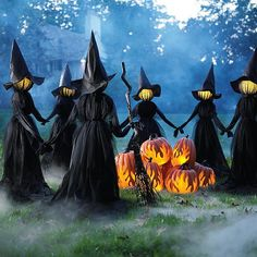 Easily craft the biggest spine-tingling spectacle on the block with a gloomy gathering of our lighted Holding Hands Witches on your front lawn. Trick-or-treaters won't believe their eyes, as they creep up to encounter this thrilling threesome, sporting their favorite little black dresses and matching raven-hued hats. The scary part? Witch heads emit a fading white glow, alluding to the lost spirits inside. The more sets you display, the larger the chill factor. Easily stakes anywhere on your…