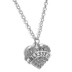 """BLESSED NECKLACE CHIC LOVE HEART CRYSTAL CHARM PENDANT BEADS SILVER 20"""" #New #Chain"""