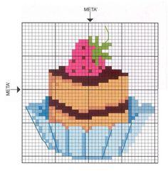 Cupcake Cross Stitch, Kawaii Cross Stitch, Cross Stitch Fruit, Cross Stitch Kitchen, Cross Stitch Cards, Cross Stitch Flowers, Cross Stitching, Cross Stitch Embroidery, Embroidery Patterns