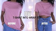 How to Transform a T-shirt into a wrap top, learn how to make a DIY wrap top out of a T-shirt, this is one. I have many other DIY t-shirt ideas, t-shirt tran. Thrift Store Diy Clothes, Diy Clothes Hacks, Diy Clothes Storage, Diy Clothes Refashion, Diy Clothes Videos, Shirt Refashion, Clothing Hacks, T Shirt Diy, Baggy Tshirt Outfit