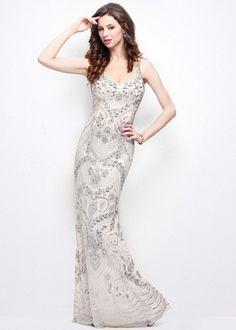 d95faf093eb76 Primavera 1402 Scoop Neck Nude Beaded Sequin Evening Gown