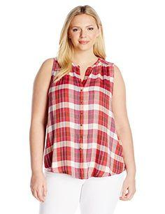NEW Lucky Brand Women's Plus-Size Rayon Plaid Shirt
