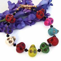 Day of the Dead Skull Handmade Bracelet Swarovski OOAK Unique Jewelry | ShadowDogDesigns - Jewelry on ArtFire