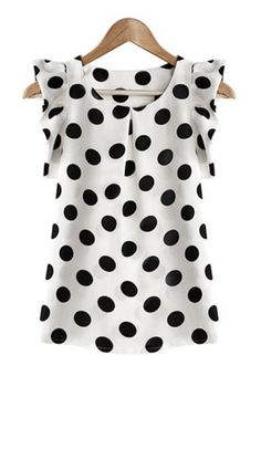Stylish Flounce Cuffs Polka Dot Scoop Neck Blouse For Women