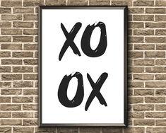 Items similar to XO Print Printable Wall Art, Hugs, Greeting Cards, Printables, Symbols, Letters, Couples, Big Hugs, Print Templates
