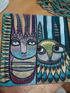 """12x12 Acrylic. Chalk and oil pastels. """"They Snuggled."""" by Laurie Jean Kramer"""