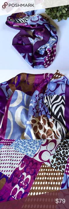"COACH purple and animal print scarf/wrap 60"" x 20"" Authentic Coach purple, brown, blue, white, and animal print scarf. Approximately 60"" x 20"". (I cut the tag off due to it catching on my clothing.) Worn 2-3 times.  EUC! Coach Accessories Scarves & Wraps"