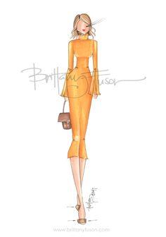 A dash of yellow to brighten this already sunny day | bag: Zac Posen | fashion illustration | Brittany Fuson