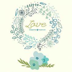 Carte d'amour tirée des fleurs de printemps de la main