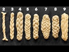 How to Plait or Braid Challah Bread from 2 3 4 5 6 7 8 and 9 Strands Bread Plait, Braided Bread, Challah Bread Recipes, Bread Shaping, Scones Ingredients, Baking Basics, Cooking Bread, Jewish Recipes, Food Crafts