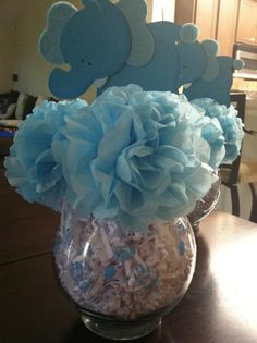 Easy, cheap centerpiece for a baby shower! Carnations made of tissue paper!