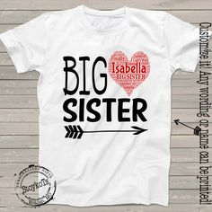 Big Sister shirt for girls personalized Heart tshirt by StoykoTs