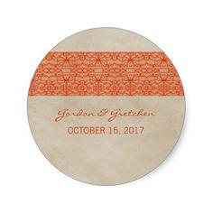 Orange Rustic Lace Wedding Stickers