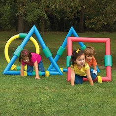 Kids Obstacle Course, Foam Geometric Shapes - should be easy to make with pool noodles