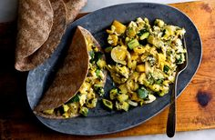 Seared Summer Squash and Egg Tacos