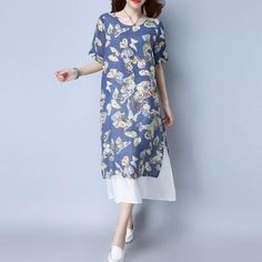 Loose Casual Printing Women Navy Blue Dress