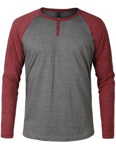 LE3NO Mens Long Sleeve Color Block Raglan Henley Shirt