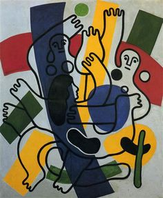 Dance, 1942 by Fernand Leger. Purism. genre painting