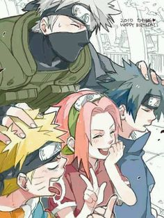Naruto Uzumaki, Kakashi Hatake, Sakura Hurano, and Sasuke Uchiha. (Naruto).