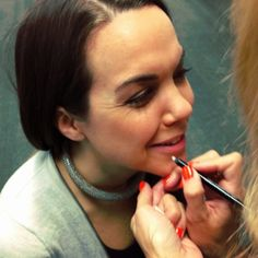 Step 3: Line the lips with a clear lip pencil. Try to avoid colored lip pencil. If you must use it, save it until the end to even out imperfections.
