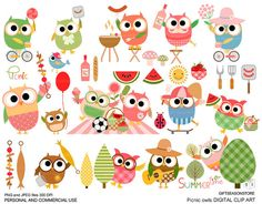 Picnic owls digital clip art for Personal and Commercial use - INSTANT DOWNLOAD