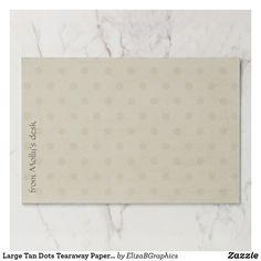 Large Tan Dots Tearaway Paper Pad #paper #pad #deskpad #office