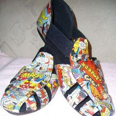 How to make Mod Podge Comic Shoes/Sandals