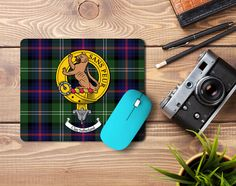 Rubber mousemat with Sutherland clan crest and tartan - only from ScotClans