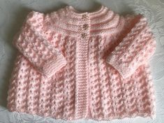 Hand Knitted Peach Matinee Cardigan will fit 0-3 mths £7.50