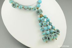 Blue Bead Necklace Lariat Style Glass Plastic by JessesVintage, $18.99