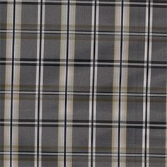 Plaid taffeta faux silk in Strafford Shale Gray color for custom window treatments, toppers, draperies and pillows
