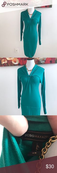 BCBGMaxazria Dress This dress is gorgeous- I just don't wear it enough. This is a reposh from a long time ago. The color is way more greenish/teal than what my camera can pick up properly. There is some extremely light fading and minor pilling here and there. So much life left to live! BCBGMaxAzria Dresses Midi