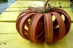 Upcycled Mason Canning Jar Lid Pumpkin, Home Decor, Fall, Thanksgiving, Halloween, Wedding Decoration