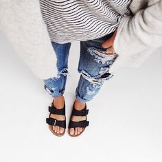 Birkenstocks, boyfriend jeans, a striped tee and cardigan. Love this look.