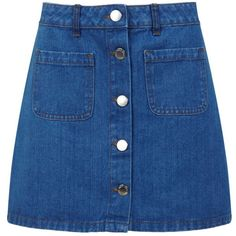 Miss Selfridge Mid Wash Denim Mini Skirt (15.710 CLP) ❤ liked on Polyvore featuring skirts, mini skirts, bottoms, denim, faldas, mid wash denim, blue denim mini skirt, short mini skirts, short skirt and blue mini skirt