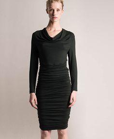 ME+EM Cowl Neck Ruched Dress: Modal Jersey / Forest