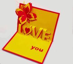 Love pop-up card. Great ideas for Valentine's day. Объемная  открытка на...
