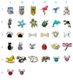 Collection of Animals Floating Charms fit in any Floating charm lockets (Large, Medium or Small with/without plate).    Choose any style from above