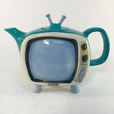 Blue Sky Clayworks Hand Painted Retro Vintage Television Teapot Collectible TV