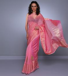 Pink Chanderi Saree with Zari & Block Prints   #Shades #HemalSethi #ParamparikSarees