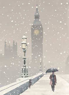 Big Ben in the Snow Christmas Cards Christmas Scenery, Winter Scenery, Christmas Villages, Corporate Christmas Cards, Charity Christmas Cards, Flat Design, Personalised Xmas Cards, London Christmas, Christmas Time