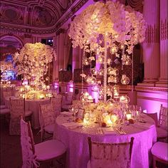 Weddings at the Plaza Hotel in New York. Florals / centerpieces by Tantawan Bloom
